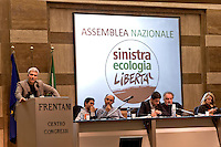 Rome, Italy 16th Janury 2016<br /> Nichi Vendola, National President of Left Ecology Freedom, (on the mic), during the assembly of the national party of  Left Ecology and Freedom.