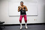 Lucha Libre AAA wrestler Deccnis warms up before a match in Sacramento, CA March 28, 2009.