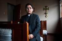 Father Luis Gaspar, judge of the Ecclesiastical Tribunal, photographed at the Santa Rosa Parish in Lima. Father Gaspar is involved in the current dispute between the Catholic Church and the Pontifical Catholic University of Peru.