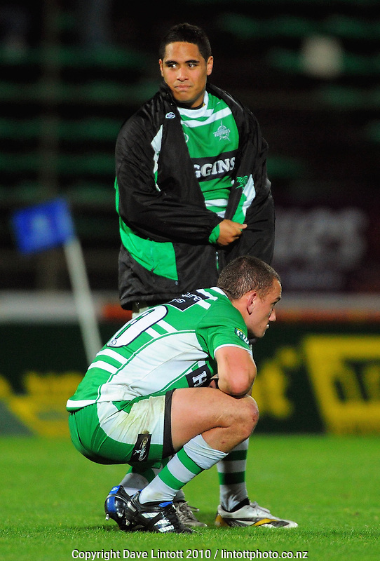 Manawatu's Aaron Cruden and Aaron Smith reflect on the last-minute loss. ITM Cup rugby - Manawatu Turbos v Waikato at FMG Stadium, Palmerston North, New Zealand on Thursday, 14 October 2010. Photo: Dave Lintott / lintottphoto.co.nz