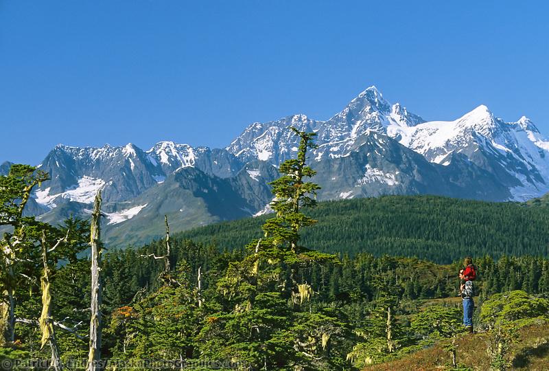 Hiking, Mount Gilbert, Port Wells, Chugach mountains, Prince William Sound, Alaska