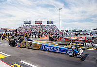 Sep 4, 2016; Clermont, IN, USA; NHRA top fuel driver Morgan Lucas (near) races alongside Doug Kalitta during qualifying for the US Nationals at Lucas Oil Raceway. Mandatory Credit: Mark J. Rebilas-USA TODAY Sports