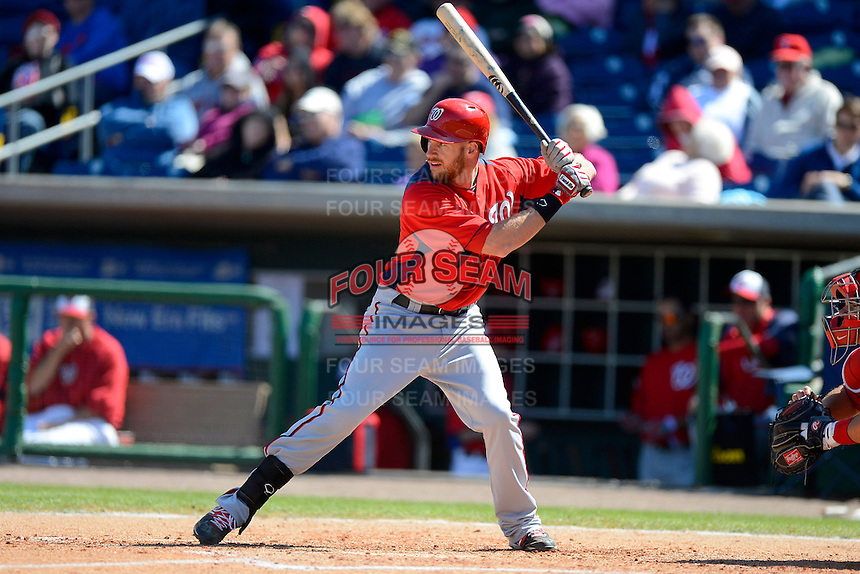 Washington Nationals outfielder Corey Brown #10 during a Spring Training game against the Philadelphia Phillies at Bright House Field on March 6, 2013 in Clearwater, Florida.  Philadelphia defeated Washington 6-3.  (Mike Janes/Four Seam Images)