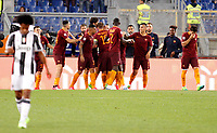 Calcio, Serie A: Roma vs Juventus. Roma, stadio Olimpico, 14 maggio 2017. <br /> Roma&rsquo;s Radja Nainggolan, center, celebrates with teammates after scoring during the Italian Serie A football match between Roma and Juventus at Rome's Olympic stadium, 14 May 2017. Roma won 3-1.<br /> UPDATE IMAGES PRESS/Riccardo De Luca