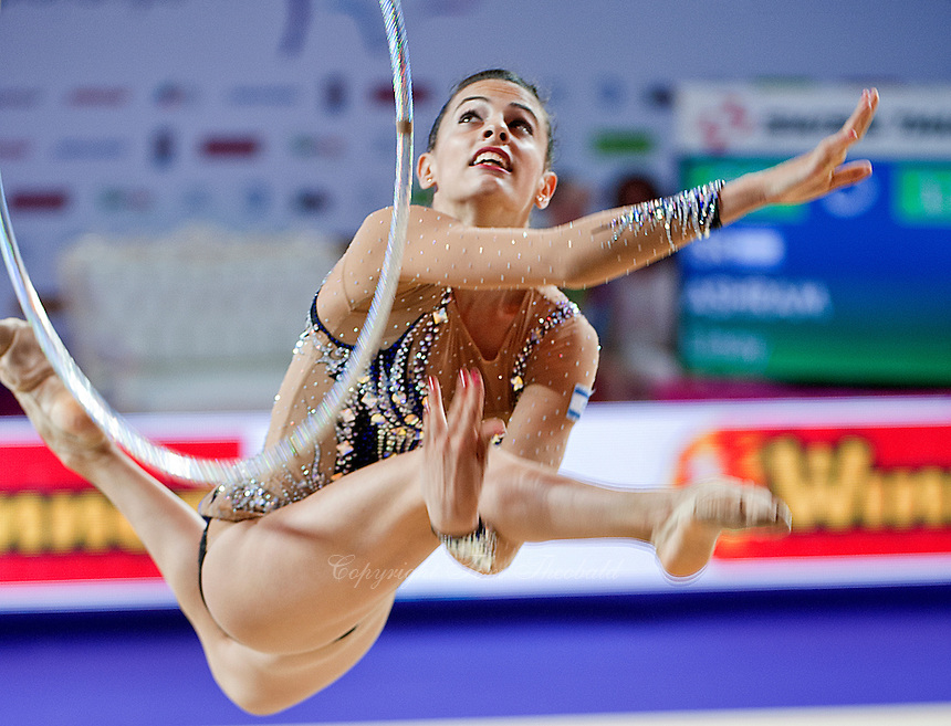 LINOY ASHRAM of Israel performs with hoop at 2016 European Championships at Holon, Israel on June 18, 2016.