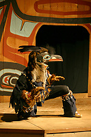 Rahsaan Gregg, Raven costume, Chilkat Dancers' Storytelling Theater Show, Haines, Alaska. Bringing ancient legends to the stage in pantomime expression using carved masks and traditional costumes.