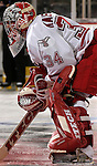 3/3/06 -- Omaha, Ne.University of Nebraska at Omaha  goalie Jerad Kaufmann at the Qwest Center Omaha. (Photo by Chris Machian/Prarie Pixel Group).