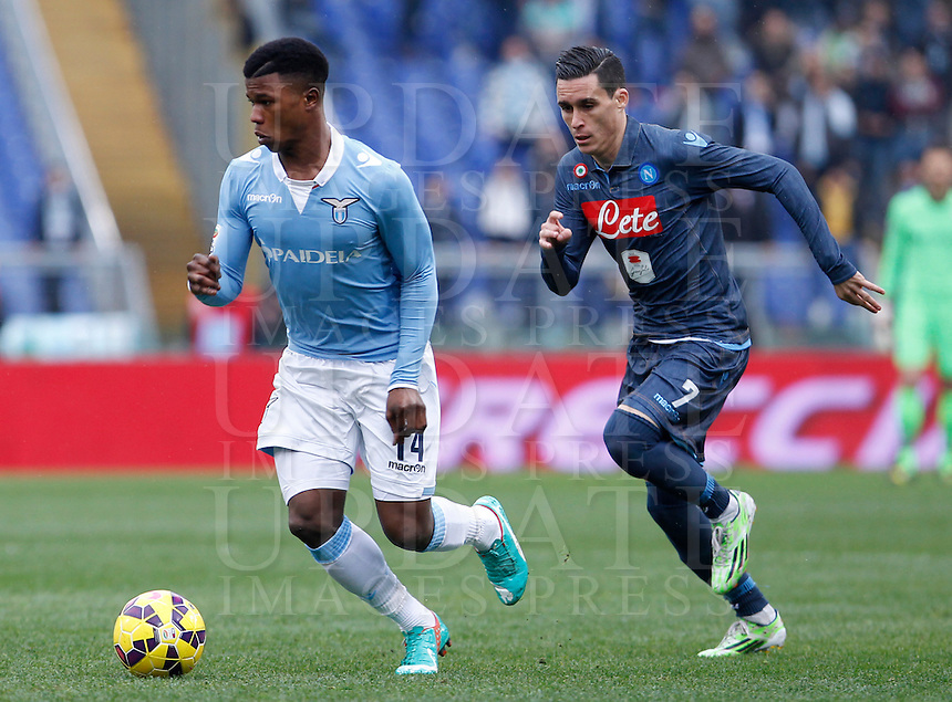 Calcio, Serie A: Lazio vs Napoli. Roma, stadio Olimpico, 18 gennaio 2015.<br /> Lazio&rsquo;s Keita Diao is chased by Napoli&rsquo;s Jose' Maria Callejon, right, during the Italian Serie A football match between Lazio and Napoli at Rome's Olympic stadium, 18 January 2015.<br /> UPDATE IMAGES PRESS/Isabella Bonotto
