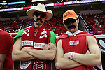 25 January 2015: NC State fan. The North Carolina State University Wolfpack played the University of Notre Dame Fighting Irish in an NCAA Division I Men's basketball game at the PNC Arena in Raleigh, North Carolina. Notre Dame won the game 81-78 in overtime.