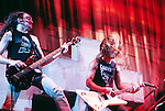 Metallica 1986 Cliff Burton and James Hetfield.© Chris Walter.