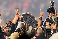 The New York Red Bulls celebrate with the Supporters Shield. The New York Red Bulls defeated the Chicago Fire 5-2 during a Major League Soccer (MLS) match at Red Bull Arena in Harrison, NJ, on October 27, 2013.