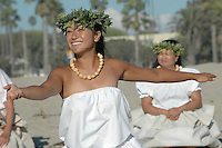 Dancers from Halau Keali'i O Nalani honor the Sea with a sacred dance during the 2011 World Festival of Sacred Music Opening at Santa Monica Beach on Saturday, October 1, 2011.
