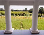 The front porch entrance to the manor house overlooks surrounding vineyards.  The manor house at General's Ridge Vineyard and Winery.