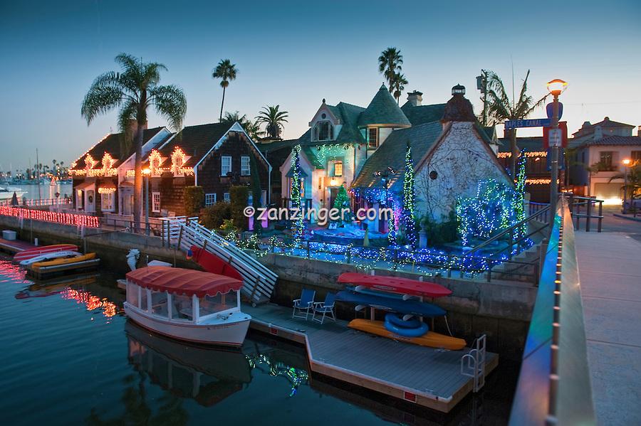 Alamitos Bay, Christmas, Lights, Treasure Island, Naples, Long Beach, CA; Reflecting in Canal; Close up; Boats; Houses; Lights; Sailboats; Yachts; holiday; holidays; travel; usa; vacation;  Architecture, Los Angeles CA; LA;  California;