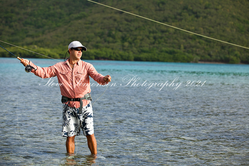 Arthur Jones of Arawak Expeditions flyfishing.in the flats of Leinster Bay.St. John.U.S. Virgin Islands