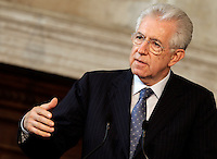 Il Presidente del Consiglio Mario Monti parla durante la conferenza stampa congiunta al termine del Vertice Quadrilaterale fra Italia, Spagna, Francia e Germania, a Villa Madama, Roma, 22 giugno 2012..Italian Premier Mario Monti speaks during the joint press conference at the end of the Quadrilateral Summit among Italy, Spain, France and Germany, at Villa Madama, Rome, 22 june 2012..UPDATE IMAGES PRESS/Riccardo De Luca