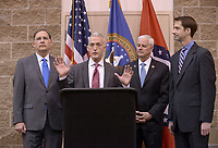 NWA Democrat-Gazette/BEN GOFF @NWABENGOFF<br /> John Boozman (from left), U.S. Sen. (R-Ark.), U.S. Rep. Trey Gowdy (R-S.C.), U.S. Rep. Steve Womack (R-Ark.) and U.S. Sen. Tom Cotton (R-Ark.) take part in media availability Thursday, April 20, 2017, prior to Gowdy's speech, part of the Winthrop Paul Rockefeller Distinguished Lecture Series presented by the United States Marshals Museum, at the Fort Smith Convention Center in Fort Smith.