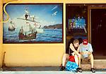 Puerto Limon, Costa Rcia, Bar Columbus, Painting Honoring Columbus Voyage To Costa Rica