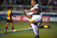 HEMPSTEAD, NY – AUGUST 3: Alessandro Noselli (22) of the New York Cosmos celebrates his game winning goal in the 92nd minute of the Cosmo's home opener against the Fort Lauderdale Strikers on August 3, 2013 at Hofstra University's Shuart Stadium in Hempstead, New York.