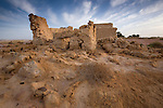 An abandoned mud brick house near Lake Siwa and Siwa Town, of the Siwa Oasis in Egypt.