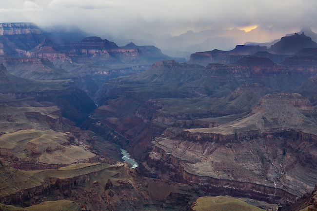A late spring storm engulfs the temples of Grand Canyon National Park. Viewed from Lipan Point.