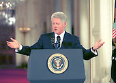 United States President Bill Clinton ponders a reporter's question at a press conference in the East Room of the White House on March 29, 2000.  The Chief Executive discussed Oil prices and said he was pleased that OPEC had agreed to increase production by 7%..Credit: Arnie Sachs / CNP