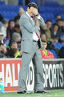Cardiff City Stadium, Friday 11th Oct 2013. Wales manager Chris Coleman isn't too pleased with some of the action of his players during the Wales v Macedonia FIFA World Cup 2014 Qualifier match at Cardiff City Stadium, Cardiff, Friday 11th Oct 2014. All images are the copyright of Jeff Thomas Photography-07837 386244-www.jaypics.photoshelter.com