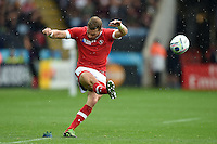 Gordon McRorie of Canada kicks for the posts. Rugby World Cup Pool D match between Canada and Romania on October 6, 2015 at Leicester City Stadium in Leicester, England. Photo by: Patrick Khachfe / Onside Images