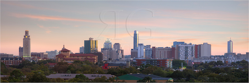 From somwhere near Lamar Blvd, I had the opportunity to shoot the downtown Austin area from an elevated perch. This view of the skyline looks souiteast. Prominently featured are the UT Tower, the partially hidden Texas State Capitol, the Frost Bank Tower, the Austonian (the tallest building in town), and the 360 Condos. If you look closely, you can also see new construction just beginning near the 360 Towers (the right side of the image.