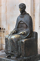 Statue of Marin Drzic, 1508-67, Croatian playwright and poet, outside the Rector's Palace in the Old Town, Dubrovnik, Croatia. Rubbing the nose of the statue is thought to bring good luck. The city developed as an important port in the 15th and 16th centuries and has had a multicultural history, allied to the Romans, Ostrogoths, Byzantines, Ancona, Hungary and the Ottomans. In 1979 the city was listed as a UNESCO World Heritage Site. Picture by Manuel Cohen