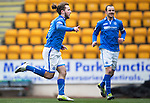St Johnstone v Partick Thistle...29.03.14    SPFL<br /> Stevie May celebrates his goal<br /> Picture by Graeme Hart.<br /> Copyright Perthshire Picture Agency<br /> Tel: 01738 623350  Mobile: 07990 594431