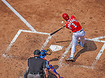 26 July 2013: Washington Nationals infielder Stephen Lombardozzi at bat against the New York Mets at Nationals Park in Washington, DC. The Mets shut out the Nationals 11-0 in the first game of their day/night doubleheader. Mandatory Credit: Ed Wolfstein Photo *** RAW (NEF) Image File Available ***