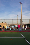 Clothing for sale on a tennis court during a bazaar at the Holiday Around the World Celebration in Sun City, Az  at the Lakeview Recreation Center December 10, 2010...2010 marks the 50th anniversary of Sun City, America's first retirement city that remains the largest today with more than 40,000 residents 55 and older.