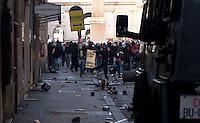 Roma 14 Dicembre 2010.<br /> Manifestazione contro il Governo Berlusconi. I manifestanti assaltono i mezzi della polizia in via del Corso<br /> Rome December 14, 2010.<br /> Demonstration against the Berlusconi government. Protesters attack police