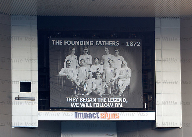 Giant banner covering the TV screen at the Govan / Broomloan corner to rcelebrate the founding fathers of Rangers FC