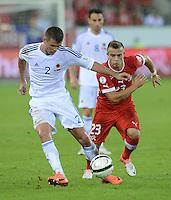 Fussball International  WM Qualifikation 2014   11.09.2012 Schweiz - Albanien Xherdan SHAQIRI (re, Schweiz) gegen Andi Lila (Albanien)