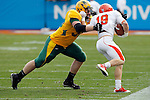 07 JAN 2012:  Anthony LaVoy (90) of North Dakota State University tackles Brandon Closner (19) of Sam Houston State University during the Division I Men's FCS Football Championship held at Pizza Hut Park in Frisco, TX. North Dakota State beat Sam Houston State 17-6 to win the national title Tom Pennington/NCAA Photos