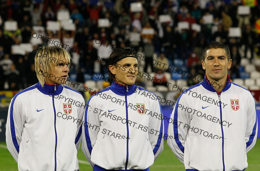 Fudbal, EURO 2012 Group C, qualifications.Serbia Vs. Italy (Italija).from left, Milos Krasic, Ljubomir Fejsa and Aleksandar Kolarov.Beograd, 07.10.2011..Foto: Srdjan Stevanovic/Starsportphoto.com ©