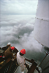 Installing the antenna to the top of the North Tower,.May 1979...2001 © Peter KAPLAN / CONTACT Press Images