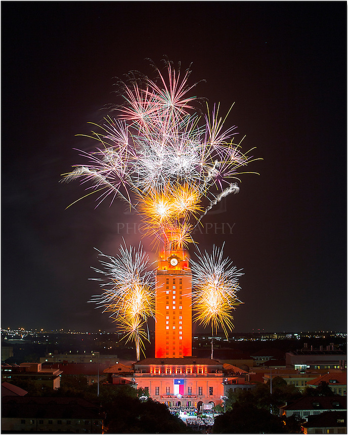 The University of Texas celebrates graduation at the 2014 Spring commencement ceremonies. This image of the UT Tower was captured on May 17, 2014.