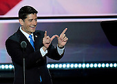 Speaker of the United States House of Representatives Paul Ryan (Republican of Wisconsin) acknowledges his state from the podium at the 2016 Republican National Convention held at the Quicken Loans Arena in Cleveland, Ohio on Tuesday, July 19, 2016.<br /> Credit: Ron Sachs / CNP<br /> (RESTRICTION: NO New York or New Jersey Newspapers or newspapers within a 75 mile radius of New York City)