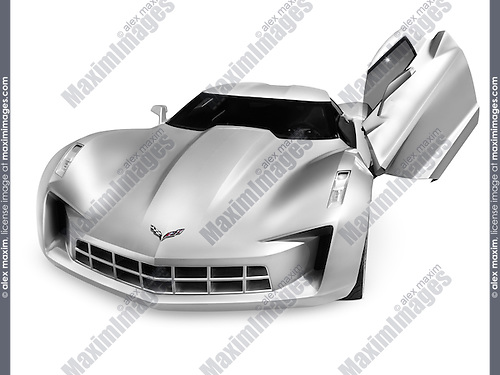 Silver Chevrolet Corvette Stingray concept sports car with butterfly doors isolated on white background with clipping path