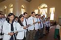 Yun-Yun Chen, from left, Katie Chavez, Alejandro Castro, Michael Caputo, Adam Burgess, Sean Bullis. Class of 2016 White Coat Ceremony.