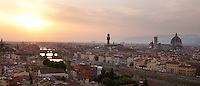 Florence panorama at sunset, with the Duomo, Ponte Vecchio and River Arno, Tuscany, Italy