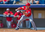 29 February 2016: Washington Nationals outfielder Logan Schafer lays down a bunt during an inter-squad pre-season Spring Training game at Space Coast Stadium in Viera, Florida. Mandatory Credit: Ed Wolfstein Photo *** RAW (NEF) Image File Available ***