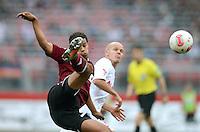 FUSSBALL   1. BUNDESLIGA  SAISON 2012/2013   8. Spieltag 1. FC Nuernberg - FC Augsburg       21.10.2012 Timothy Chandler (li, 1 FC Nuernberg) gegen Tobias Werner (FC Augsburg)