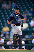 Charlotte Stone Crabs catcher Brett Sullivan (8) during a game against the Bradenton Marauders on April 9, 2017 at LECOM Park in Bradenton, Florida.  Bradenton defeated Charlotte 5-0.  (Mike Janes/Four Seam Images)