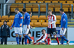 St Johnstone v Kilmarnock.....09.11.13     SPFL<br /> Ref Willie Collum waits for Jackson Irvine to get on his feet before booking him for diving, Irvine was also booked in the second half and sent off.<br /> Picture by Graeme Hart.<br /> Copyright Perthshire Picture Agency<br /> Tel: 01738 623350  Mobile: 07990 594431