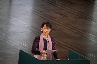AUNG SAN SUU KYI gives her Nobel Peace Price lecture at the City Hall in Oslo during her second day at the norwegian city. Suu Kyi holds her first official diplomatic tour in Europe after 15 years in house arrest in Myanmar. She visits Switzerland, Norway, Ireland, Britain and France from June 13 to June 29 2012.