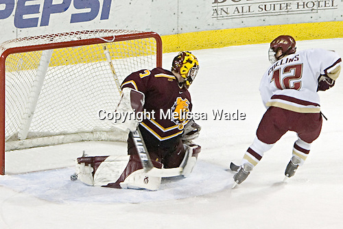 Chris Collins scored the first goal on Derek MacIntyre during the shootout - not sure if the puck behind MacIntyre's right skate was heading back out or if it just kept going.  The Boston College Eagles and Ferris State Bulldogs tied at 3 in the opening game of the Denver Cup on Friday, December 30, 2005, at Magness Arena in Denver, Colorado.  Boston College won the shootout to determine which team would advance to the Final.